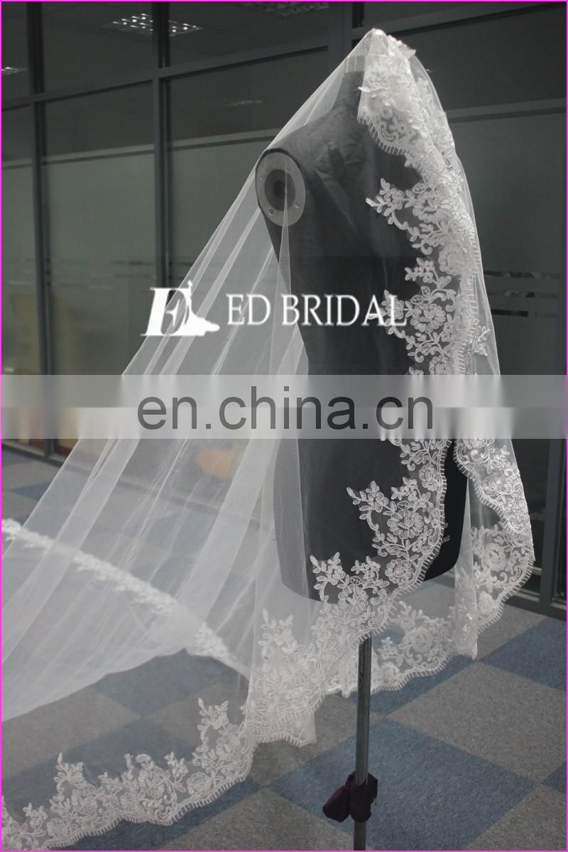 WA1201 Wholesale Elegant Wedding Accessory Lace With Comb One Layer 5m Wedding Veil