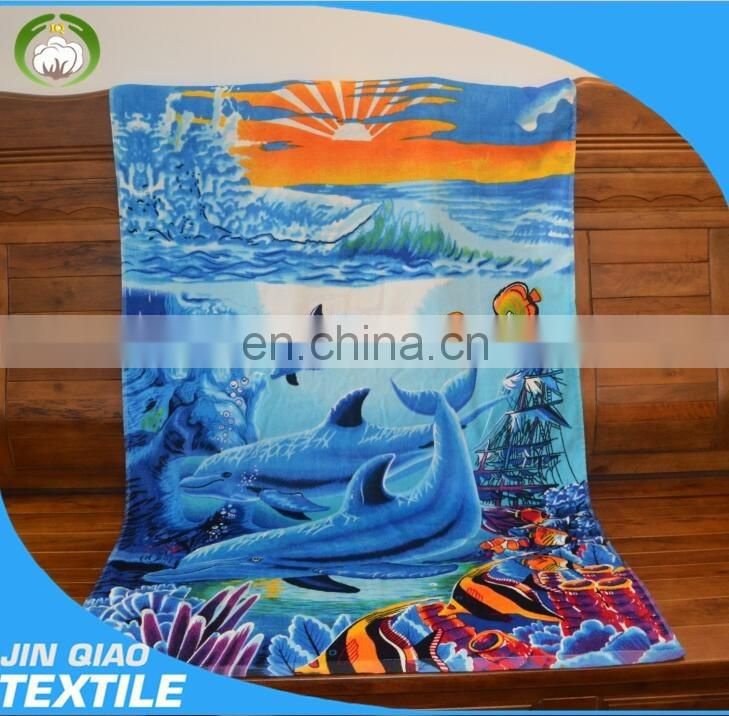 Shark design character beach towels China factory 100% cotton velour custom printed beach towel