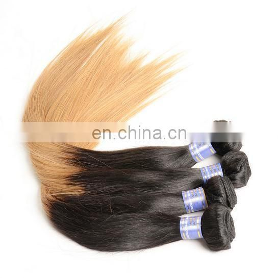 Wholesale 1b/27 Ombre Indian Hair Weave Blonde Cheap Indian Human Hair Extensions Silky Straight Ombre Hair