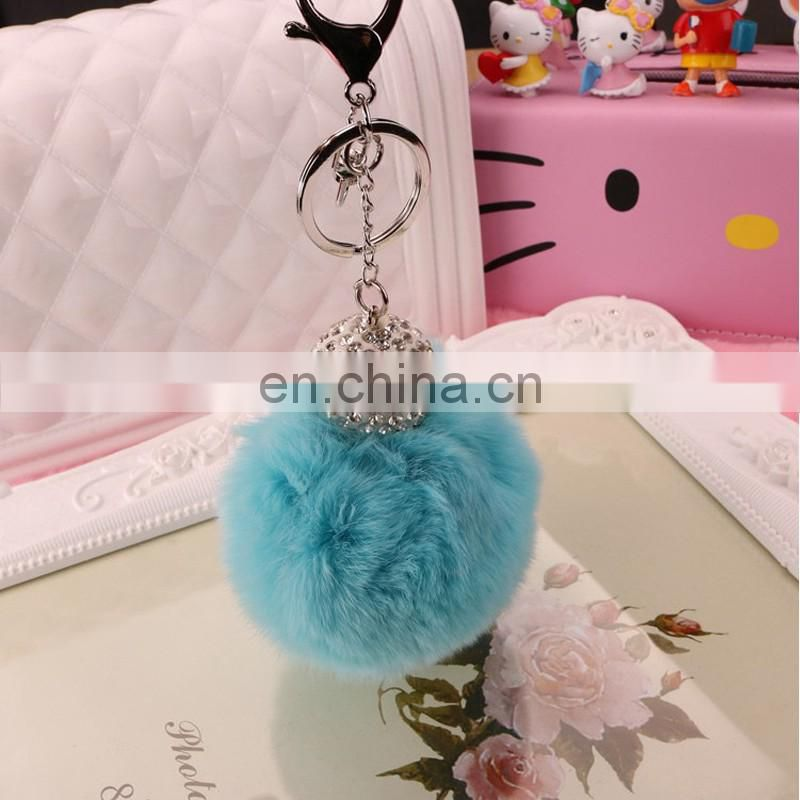 Luxury rex rabbit fur pompom bag charm metal keyring fur accessory