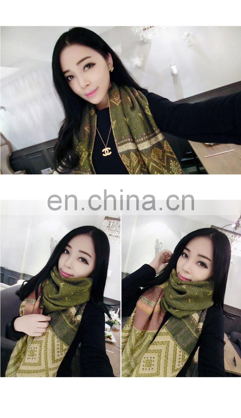 diamond two-sided jacquard long scarf with fringe pashmina shawl