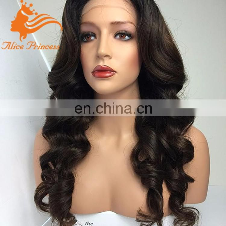 "100% brazilian virgin human hair 20"" inch malaysian body wave full lace wig dark brown full lace wig under 200"