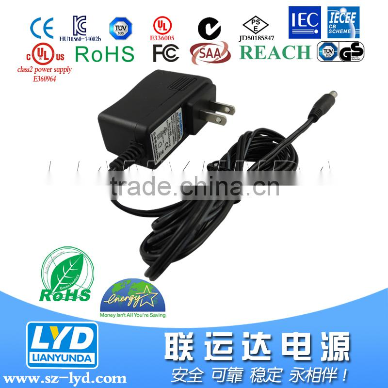 Wall mounted switching power supply DC charger 5V 9V 12V 15V 12 volt 1.5 amp power adapter