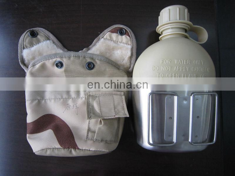 camouflage army water canteen with cover