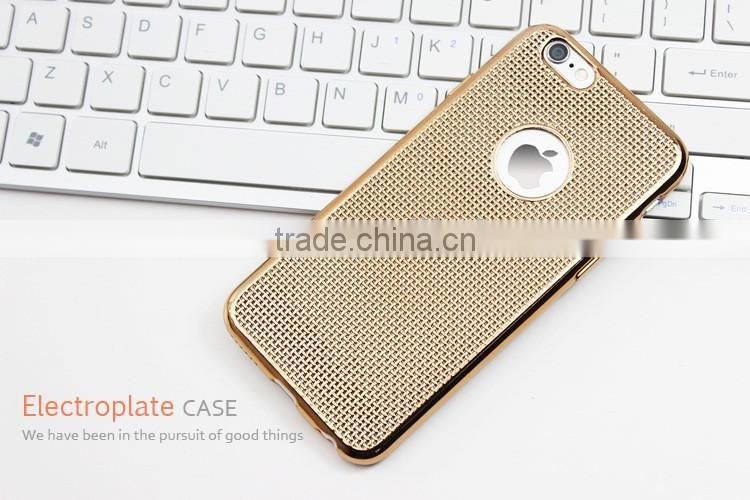 Heat dissipation woven pattern electroplate tpu phone case for iphone 6