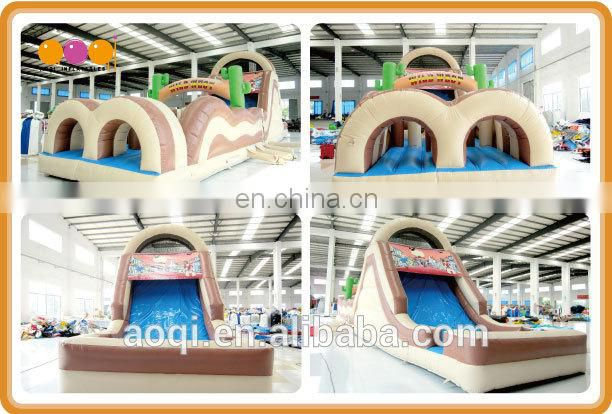 AOQI best seller children inflatable obstacle course indoor sport inflatable trampoline obstacle game for sale