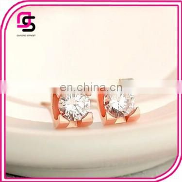 2017 summer hoe sale Stainless steel gold full crystal earrings