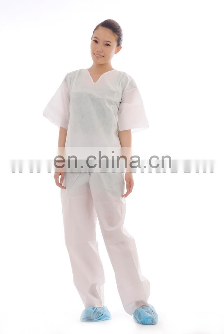 Medical white comfortable disposable sms pajamas