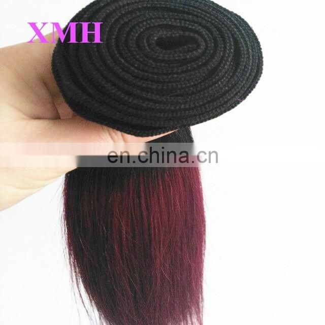 Large Stock Dark Rooted Burgundy/Purple/Golden/Blonde Two Tone Ombre Hair Weave Virgin Brazilian Bundles