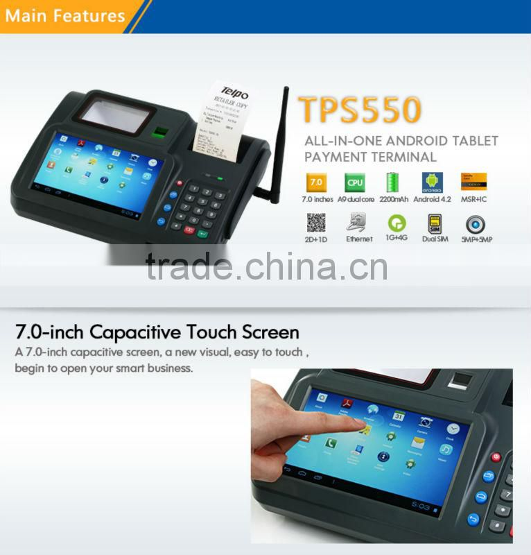 Telpo TPS550 android wcdma WIFI barcode reader and finger reader pos terminal 3G
