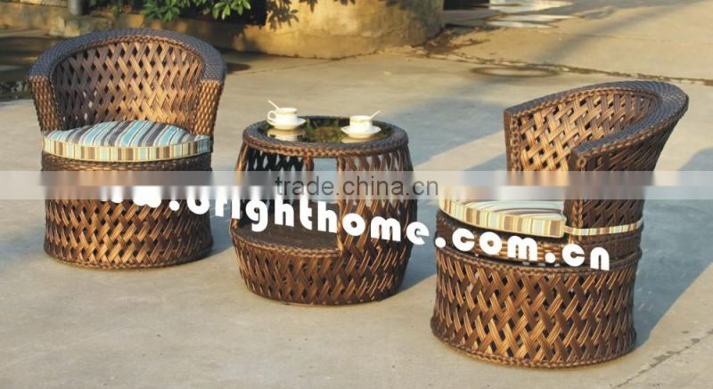 Round Rattan Table and Peacock Chair