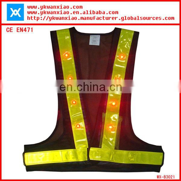 factory custom made light mesh led tubes flashing led lights sport safety vest