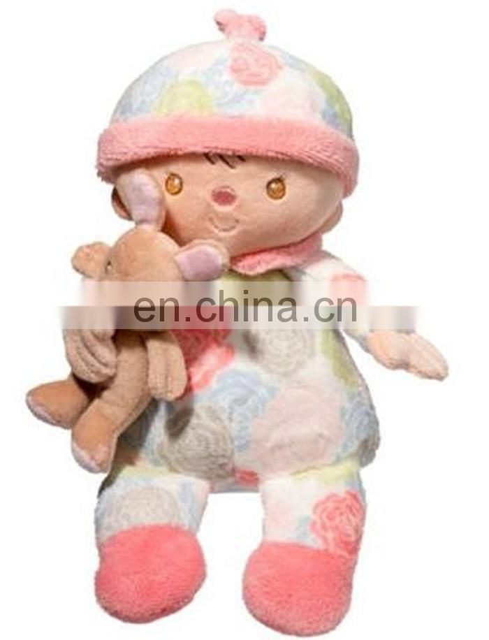 rose pattern girl doll with bunny