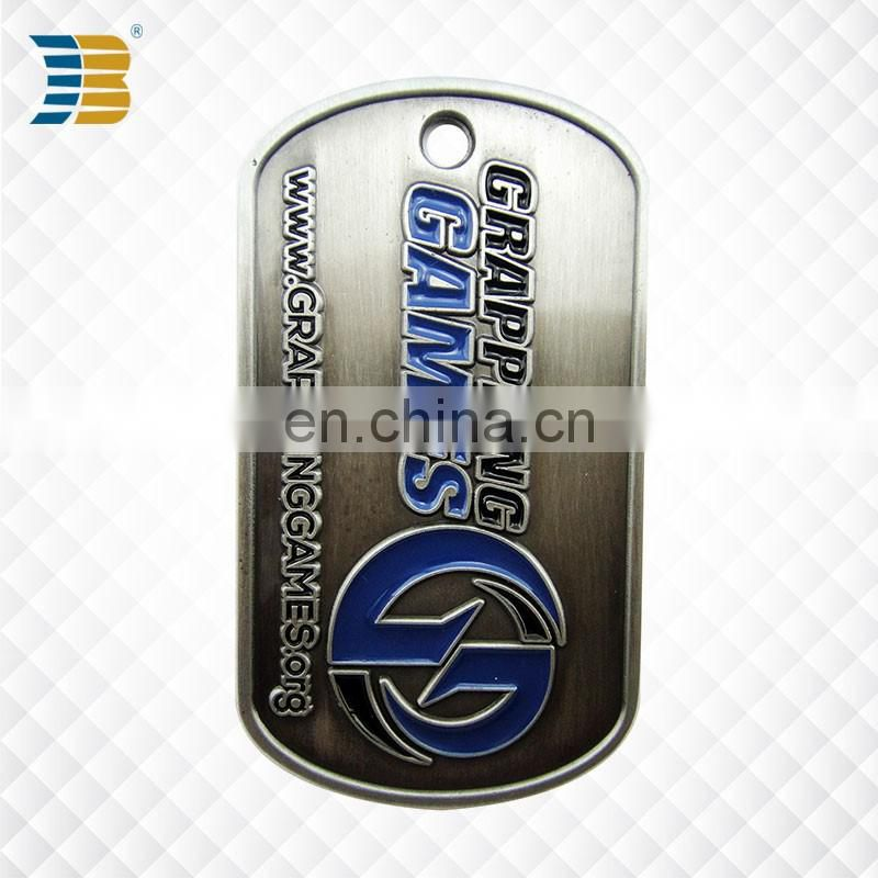 high quality cheap custom metal blank antique military souvenir dog tag