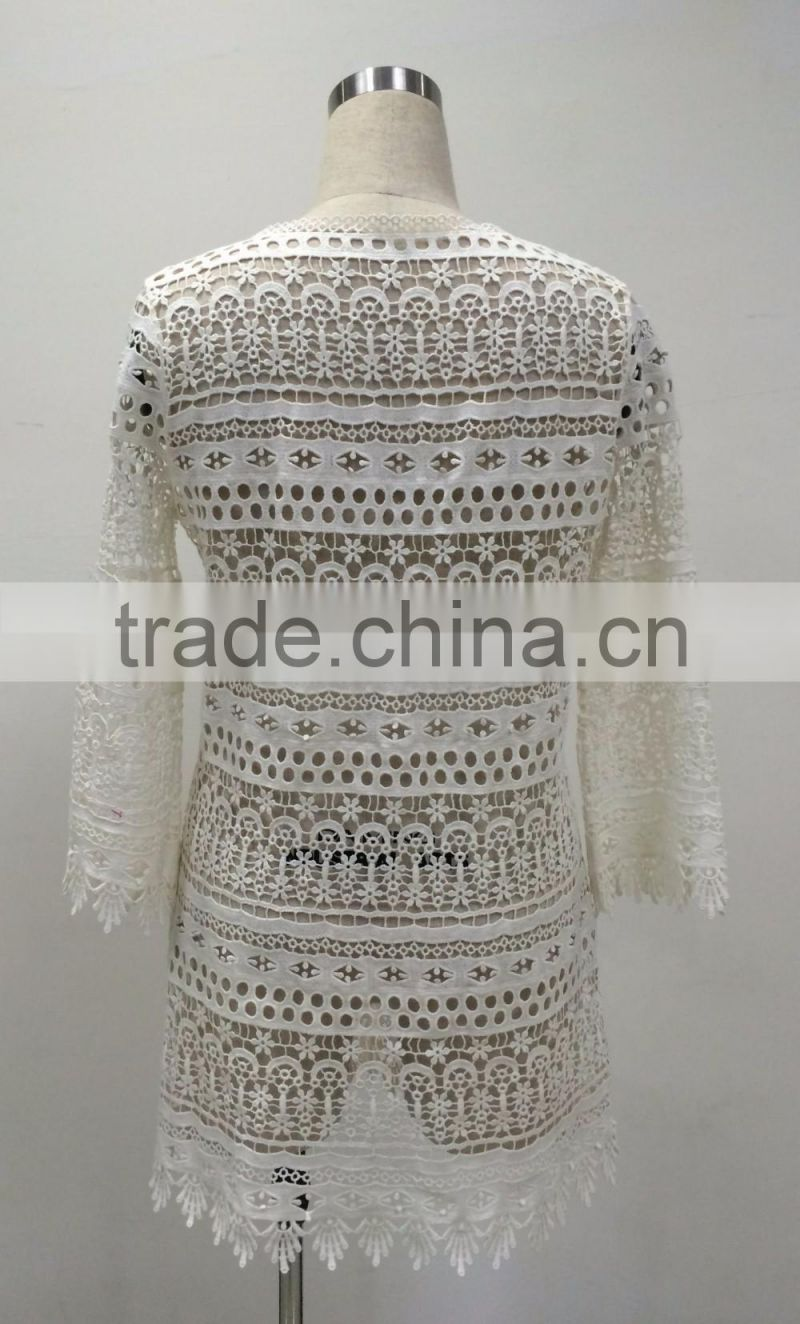 wholesale lady's fashion crochet cotton long sleeve summer beach kaftan top casual style