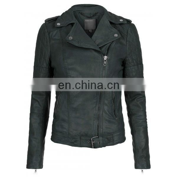 Nido Green Brando Style Womens Biker Motorcycle Genuine Leather Jacket All Sizes