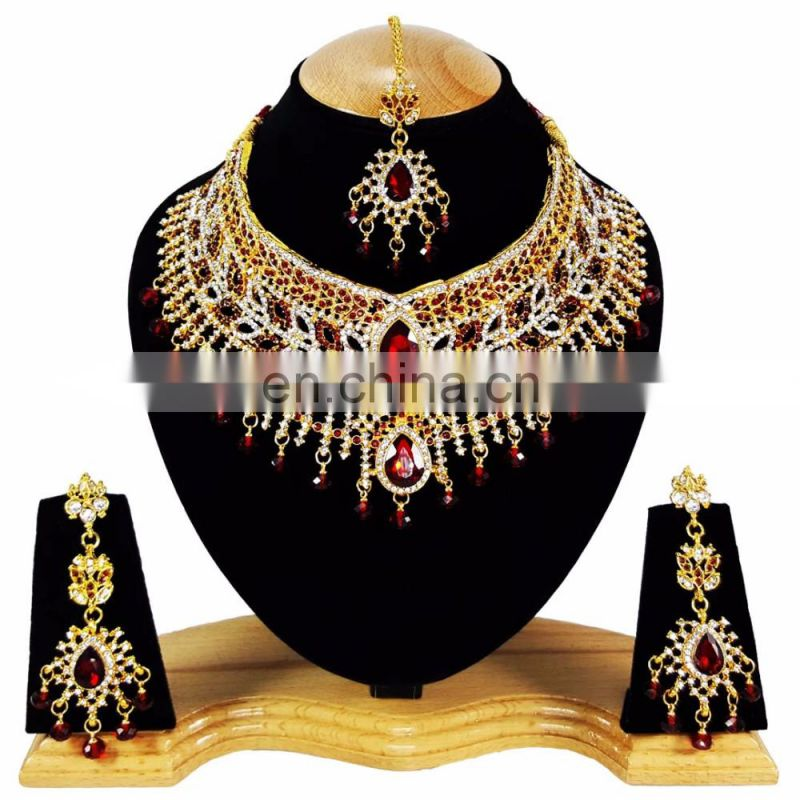 Beautiful Designer Gold Plated Bollywood Party wear Jewelry Necklace Set Dark Red Color