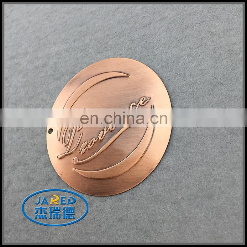 Embossed Metal Crafts 3D Aluminum Round Wine Label