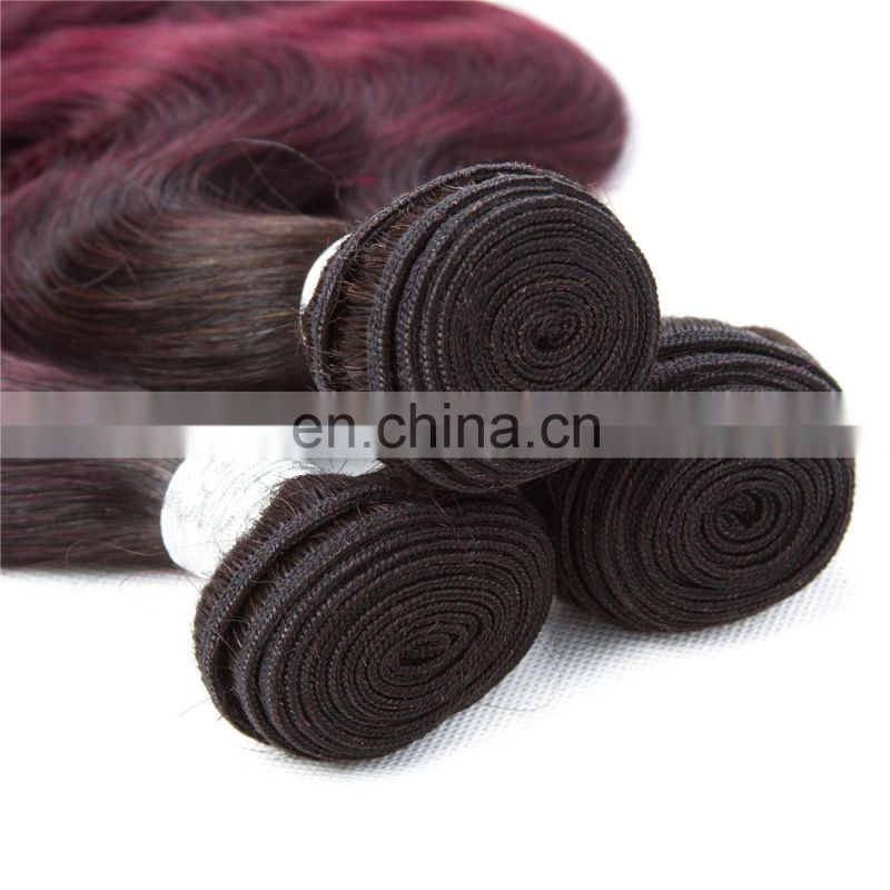 factory wholesale sew in human hair weave ombre hair 1b/99j two tone body wave free sample hair extensions bundles