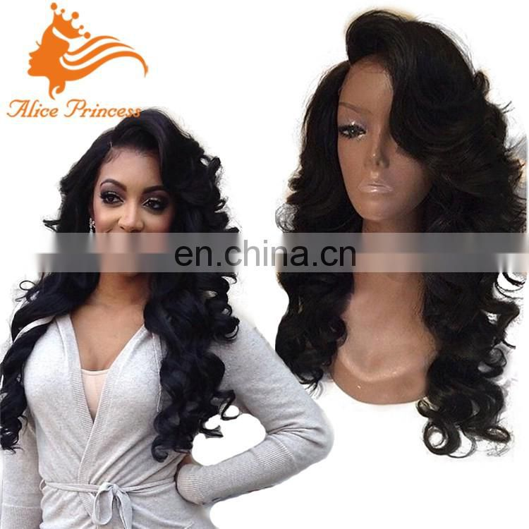 Body Wave Brazilian Virgin Silk Based Full Lace Wig with Baby Hair Natural Hairline Free Ship