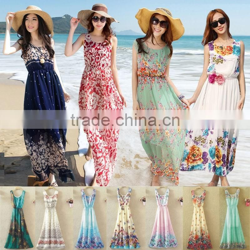fashion Women Long Chiffon maxi Dress Summer Beach Dress