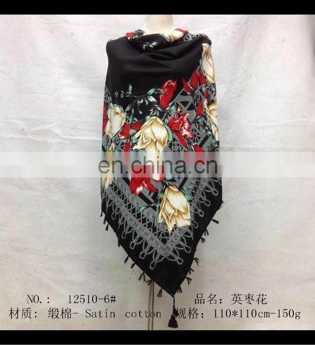 square scarf with fringe fashion scarf 110*110cm 20170814 SATIN COTTON