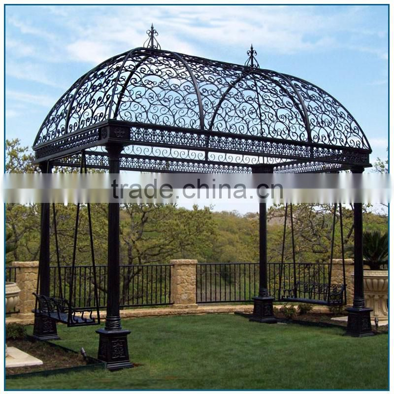 China Manufacture Garden Decoration Large Black Wrought Iron Gazebo