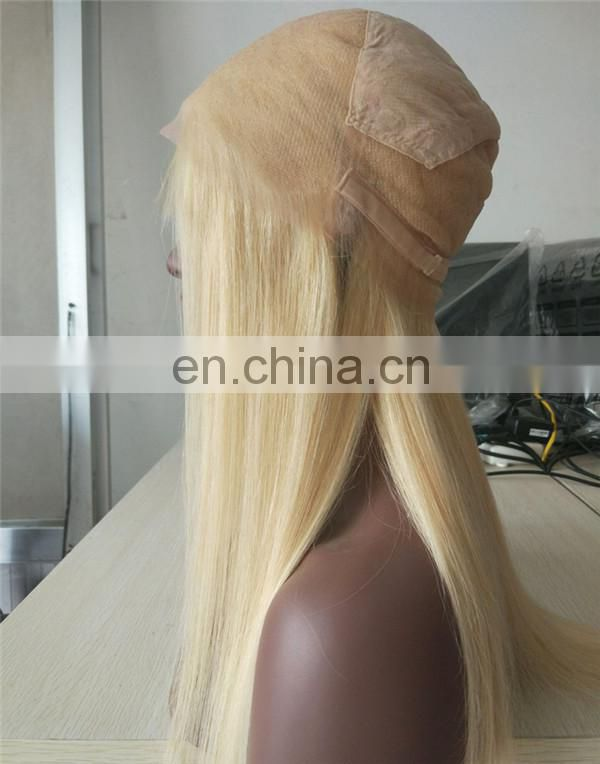 European Hair Wig Overnight Shipping Blonde Colour #613 Silky Straight Full Lace Wig 100% Human Hair