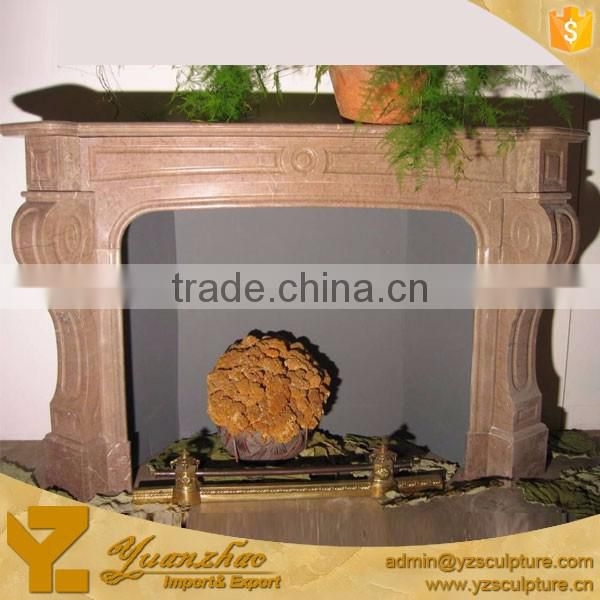 Indoor Hand Carved Cream Marble Fireplace Mantel for Sale