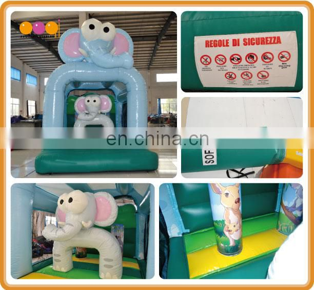 2017 AOQI newest design elephant family mini inflatable jumper bouncer for kid with free EN14960 certificate