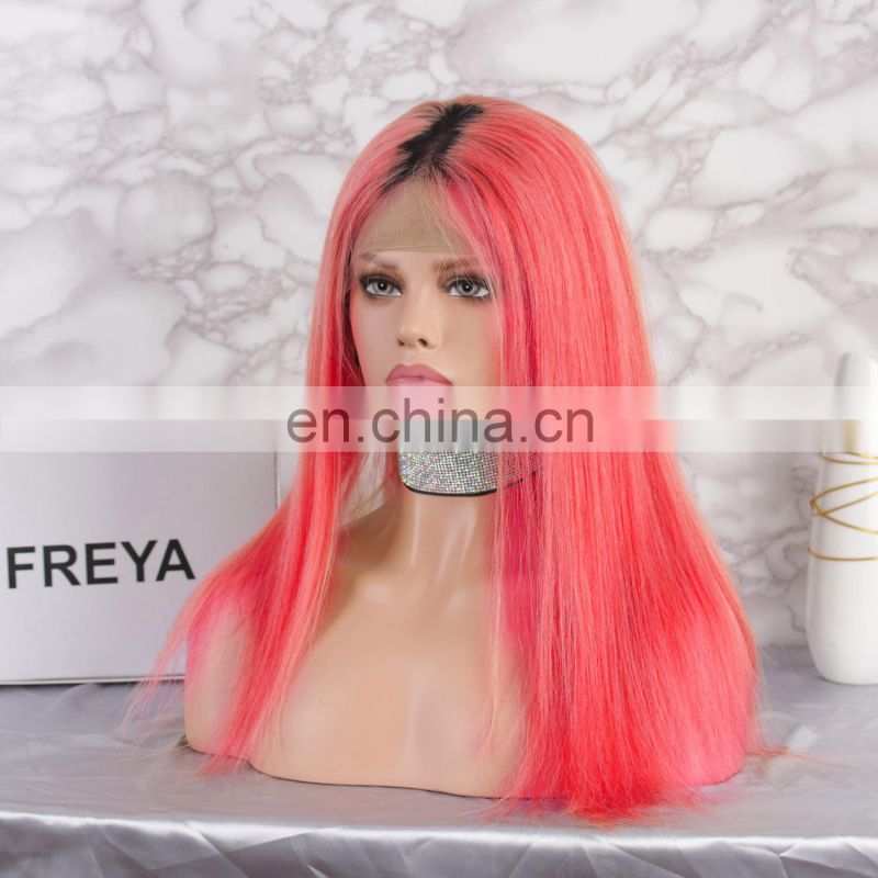 2018 crazy red fashion color with dark roots full lace human hair wig