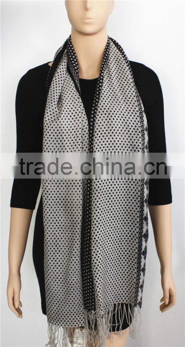 White and Black Dot Wool Long Scarf
