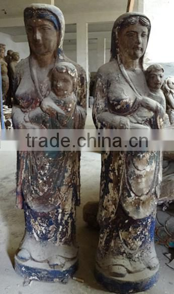 Archaistic Wood Carving Buddha Statue For Sale