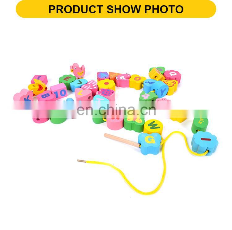 36pcs colorful blocks Children string beads in bulk wooden toys educational baby