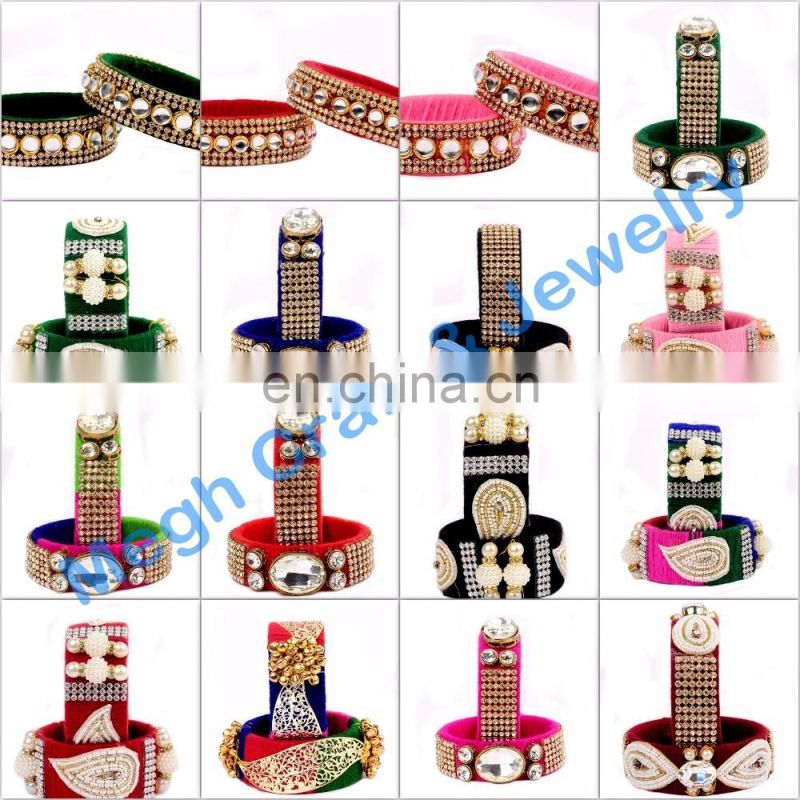Indian handmade thread bangle-party wear stone bangle-indo western style thread bangle-party wear bangle wholesale