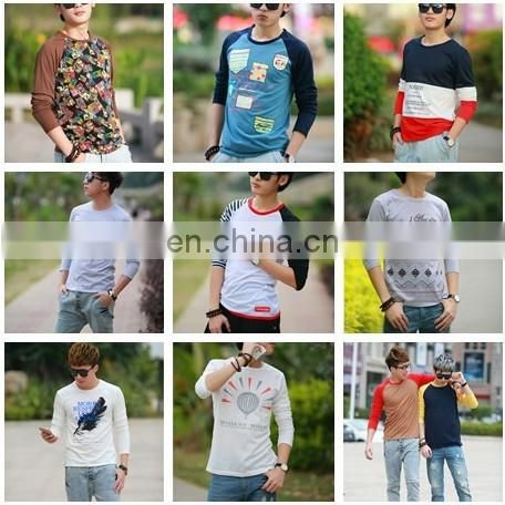 Peijiaxin Casual Style O-neck Sleeve With Flag Printed Long Sleeves Cotton T shirt Men