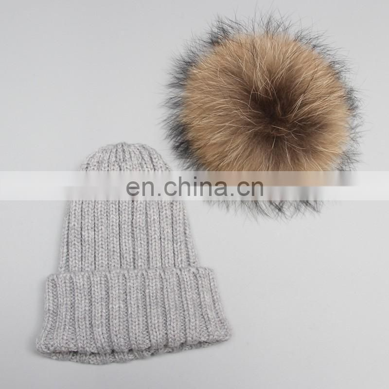 plain winter knitted hat with pom pom ,children kid knitting cap