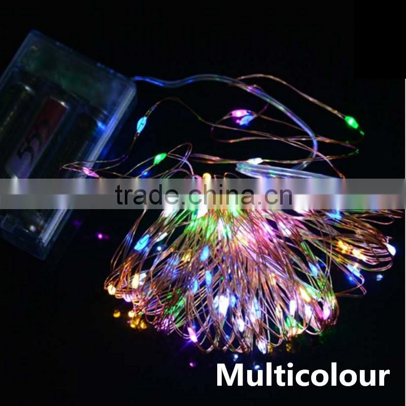 LED Copper Wire Starry Lights String Fairy Home Garden Christmas Decoration + Battery Box yellow