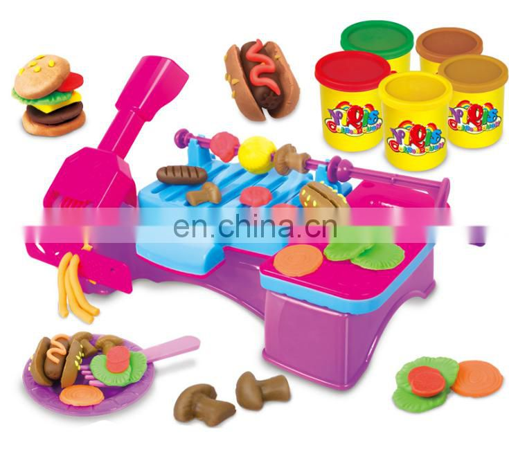Creative DIY kids non-dry play dough set 3D mud color clay plasticine ice cream mold tool set