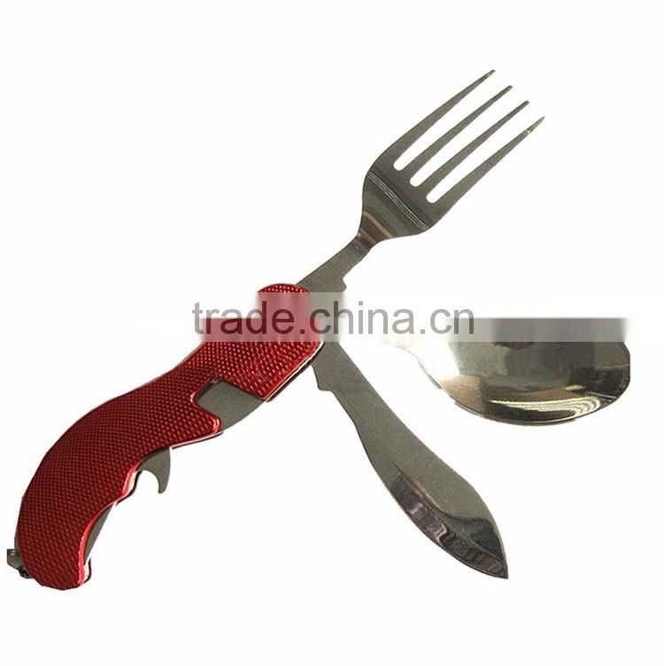 Outdoor Camping 4 Pieces Set Stainless Steel Tableware Multi-functional Portable Tools Cutlery Knife Fork Spoon Bottle
