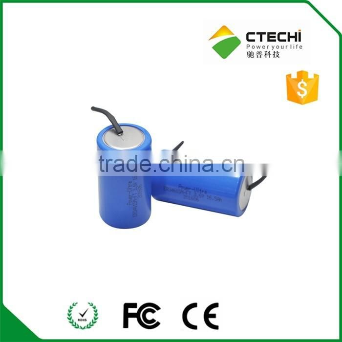 ER34615M-FT battery with customized solder pins 3.6v 16500mah