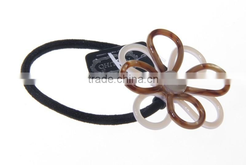 high quality leopard brown acrylic brown ivory flower elastic thick hair ties bungee cord ponytail holders