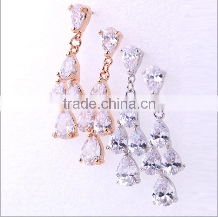 EZ-41 Crystal Micro Paving Brass Material Rhodium Plated H-Quality Bridal Drop Pierced Earring