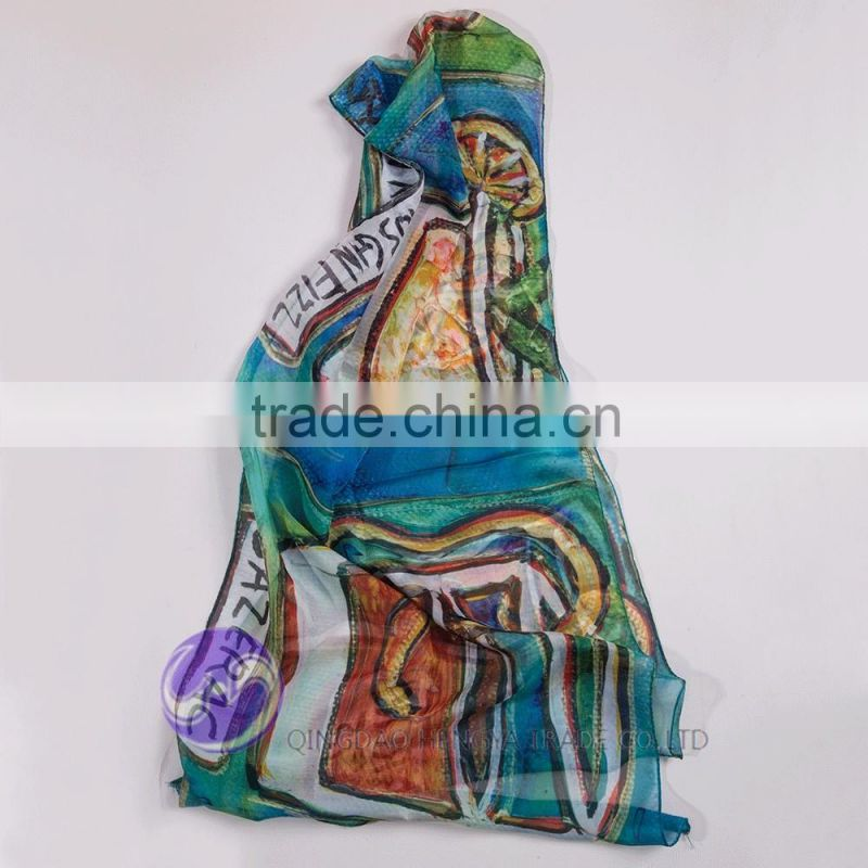 China wholesale digital print custom design lady scarf