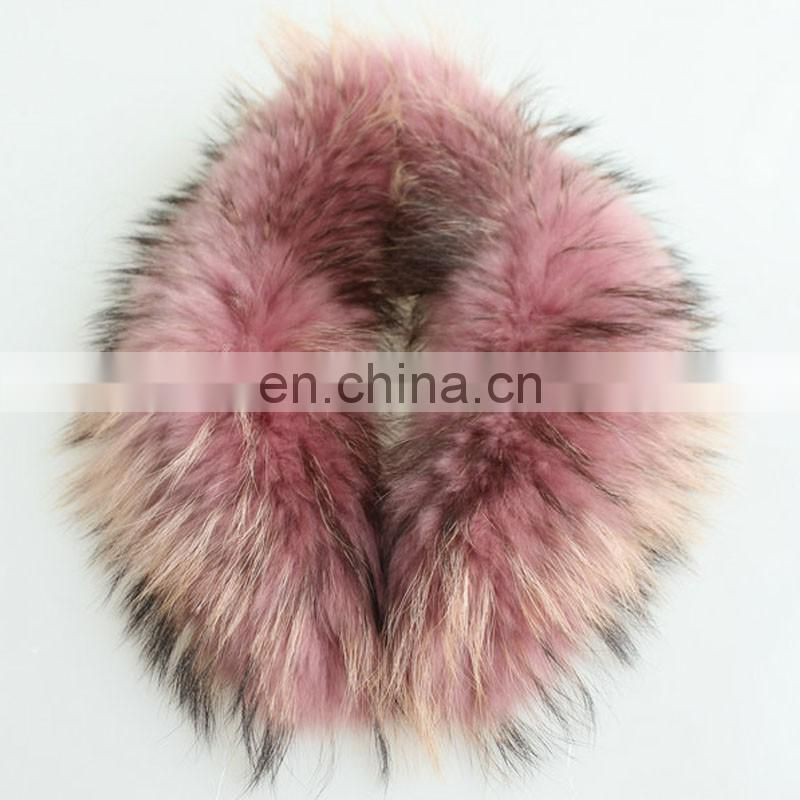 Pink real raccoon fur collar for garment winter fashion wholesale