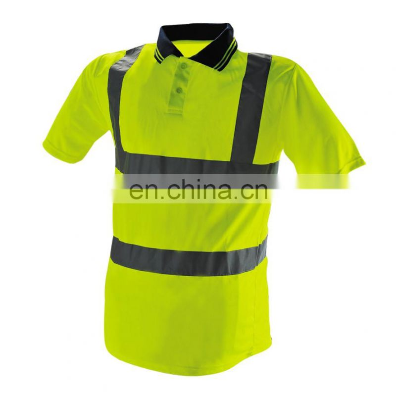 safety yellow and green work polo shirt