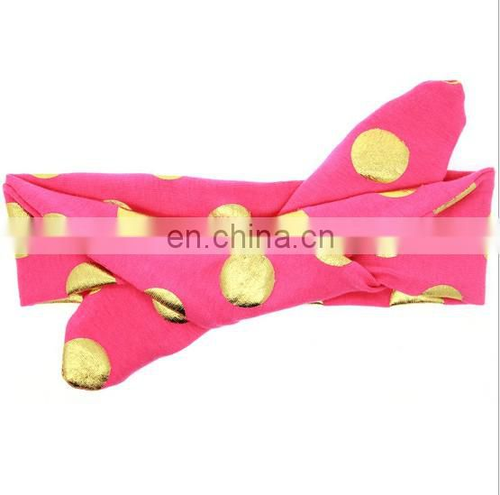 Gold Polka Dot Toddler Headwrap Baby Top Knot Turban Headband For Newborn Hairbands