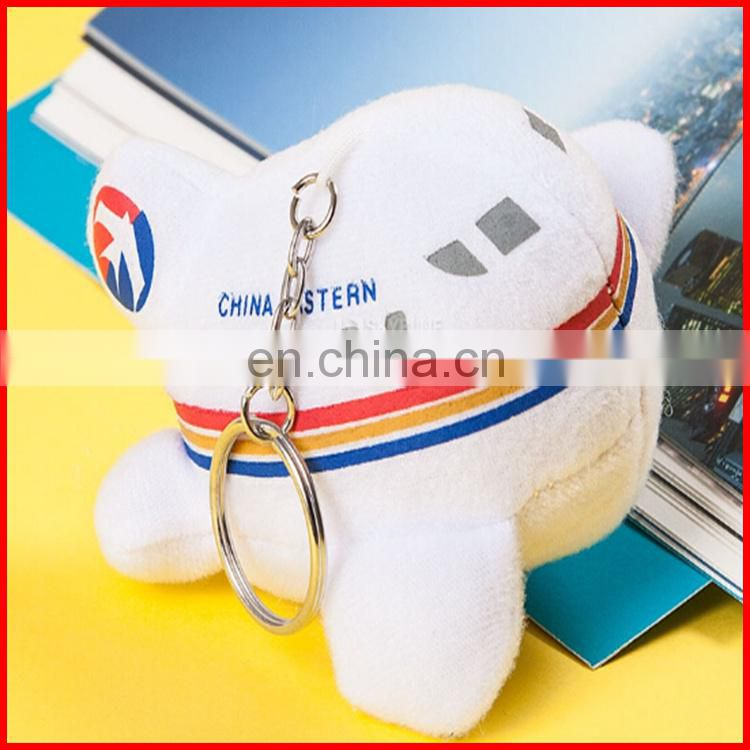 Emboridery logo 10cm soft plush plane keychain toy for promotional gift