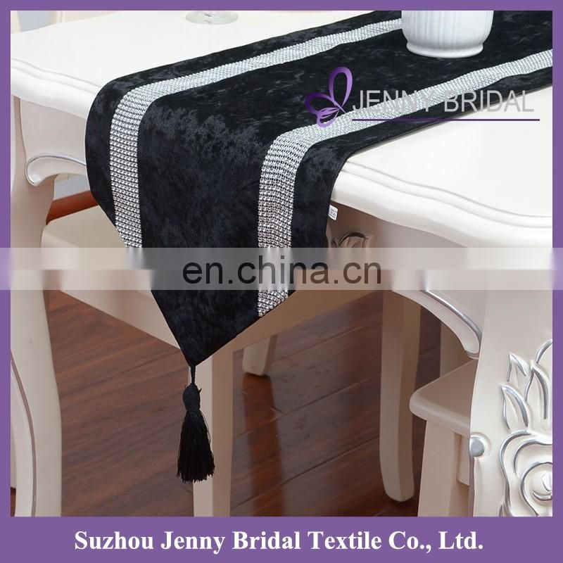 TR039G korea velvet fabric silver sparkle diamante studden solid table runner