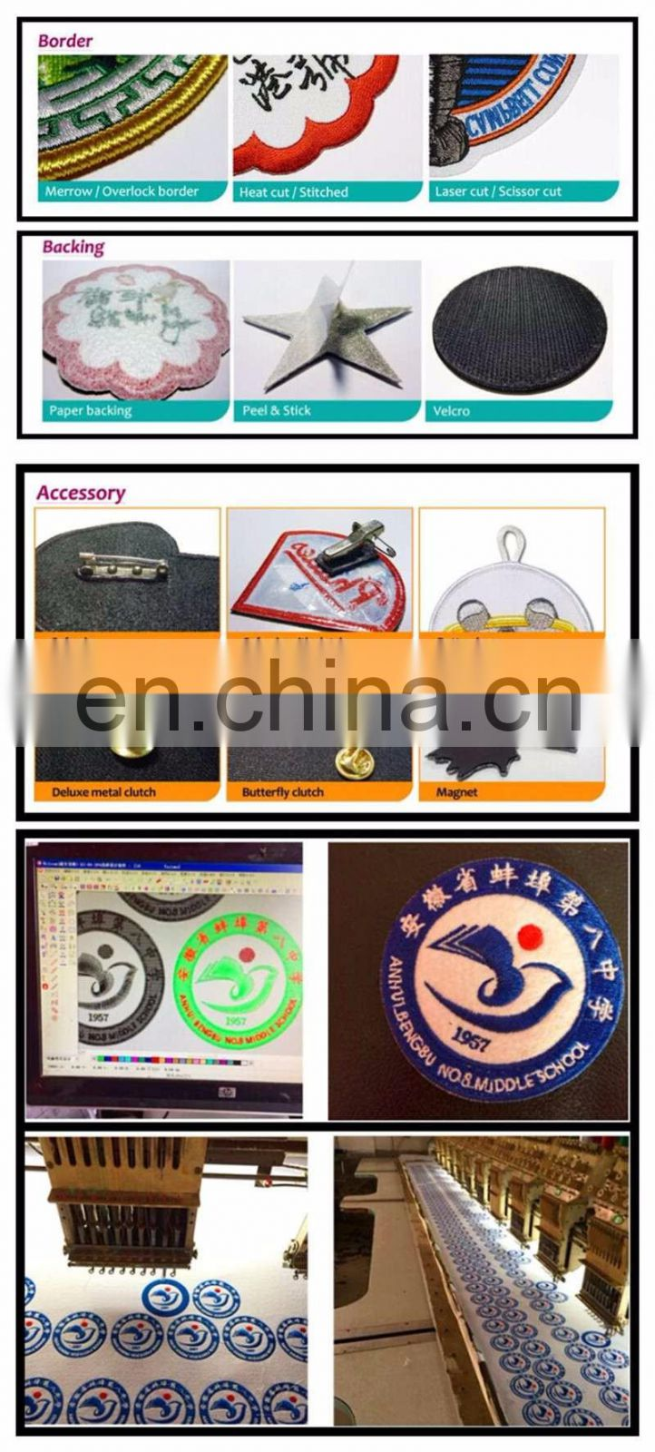 Wholesale appliqued sew on custom embroidered patches for clothing
